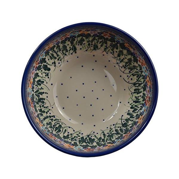 Traditional Polish Pottery, Handcrafted Ceramic Salad Bowl (1500ml), d.19cm, Boleslawiec Style Pattern, M.704.Daisy