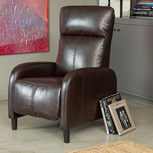 Modern Design Brown Padded Leather Armchair Recliners