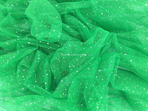 Pantomimes Costumes (PRESTIGE Stiff Nylon Net Fabric silver hologram sparkling sequins spangle tulle dress veiling tulle, pantomime costumes, fairy dress - PER METRE (Green) by Prestige Fashion UK Ltd)