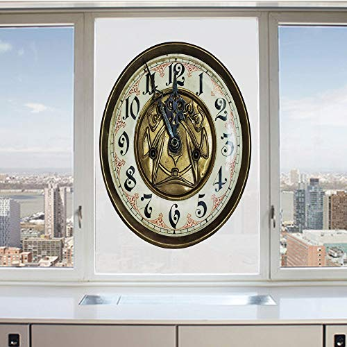 3D Decorative Privacy Window Films,Antique Theme a Vintage Clock with a Face on It Stylish Decorative Pattern,No-Glue Self Static Cling Glass film for Home Bedroom Bathroom Kitchen Office 17.5x36 Inch ()