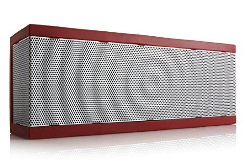 SoundBlock Custom Bluetooth Wireless Stereo Speaker for Computers and Smartphones. Bluetooth 3.0 Technology with Built-in Speakerphone and 10 Hour Rechargeable Battery. In Red/Gray