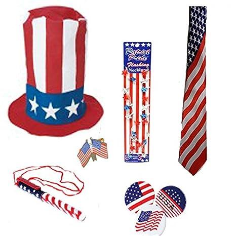 Patriótica disfraz Set rojo blanco y azul estufa sombrero de copa, la bandera americana cuello