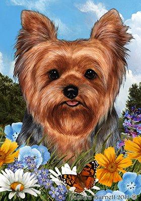 Flag Garden Yorkie - Best of Breed Yorkie Puppy Cut Summer Flowers Garden Flags