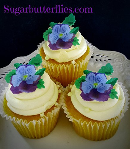 Edible Flat Wafer Lavender Purple Pansy- Cake/cupcake Toppers Collection of 12