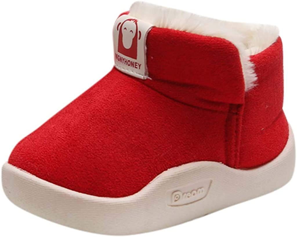 YWLINK Zapatos De AlgodóN NiñOs Y NiñAs Botas De Nieve CáLidas De Invierno Botines De Gamuza De Terciopelo Antideslizantes Suave Y Confortable Al Aire Libre Zapatillas De Deporte