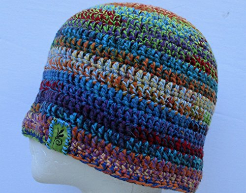 BlueBear Signature Hemp and Cotton Crochet Beanie Hat in Multicolor Rainbow
