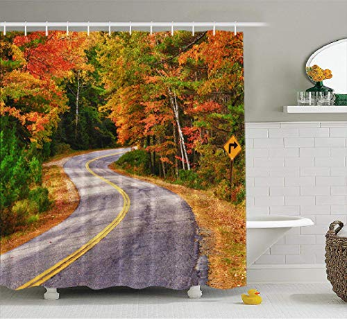 ASOCO Autumn LeavesShower Curtain, Winding Road Autumn Trees New England Fall Bathroom Shower Curtains Waterproof Set of Hooks 72X78 Inches