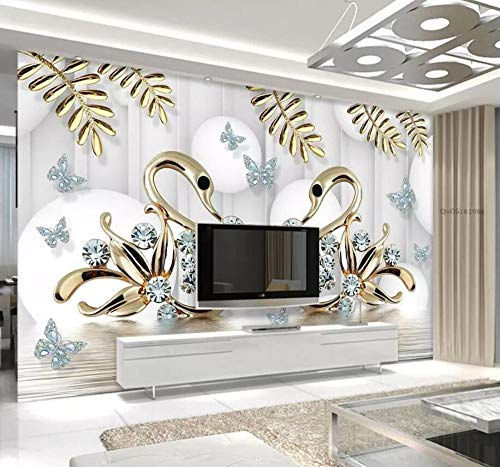 Wall Mural 3D Jewelry Diamond Swan Stereo Modern Custom Photo Wallpaper Murals Wall Decor