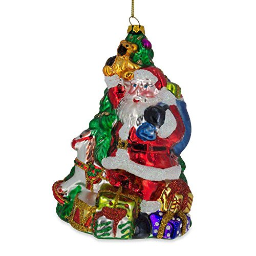 (BestPysanky Santa Holding Gifts by The Christmas Tree Glass Christmas Ornament 5.5 Inches)