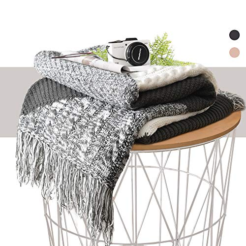 (KAWAHOME Grey Knit Throw Blanket Office Handmade Tassel Elegant Decorative Spring Textured Throw 50 X 60 Inches for Couch Sofa)
