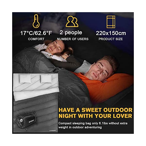 FUNDANGO Sleeping Bag Queen Size XL Double Sleeping Bag for Camping, Hiking, Traveling,2 Person Sleeping Bag with 2 Pillows and Compression Bag 9