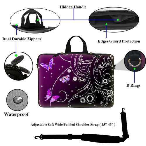 Computer Bag 6 Neoprene with Purple Carrying Sleeve and Adjustable Case Swirl Hidden inch Strap Shoulder Portable 15 Laptop 15 Handle Butterfly1 8f5q0ww
