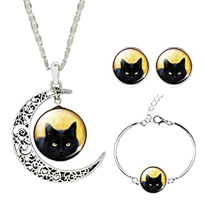 Jiayiqi Women Lifelike Black Cat New Moon Gem Necklace Bracelet Earrings Set