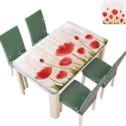Polyester Tablecloths Antic Tulip Blooms Flower Meadow Fresh Feminine Buds Watercolor Paint Effect for Indoor and Outdoor Use 50 x 102 Inch