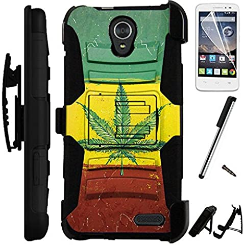 For ZTE Midnight Pro 4G LTE Case Armor Hybrid Silicone Phone Cover Kick Stand LuxGuard Holster + Screen Protector + Stylus (Weed Nation (Weed Zte Phone Cases)