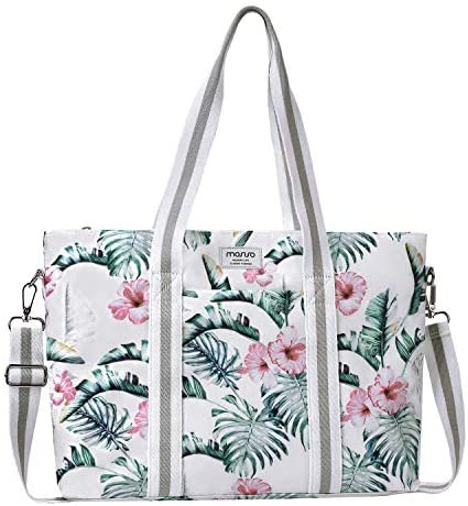 MOSISO Laptop Tote Bag for Women Up to 17.3 inch , Canvas Multifunctional Work Travel Shopping Duffel Carrying Shoulder Handbag Compatible with MacBook, Notebook and Chromebook, Banana Leaf