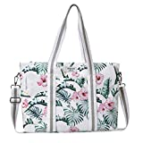 MOSISO Laptop Tote Bag (Up to 17.3 Inch), Canvas Classic Multifunctional Work Travel Shopping Duffel Carrying Shoulder Handbag Compatible Notebook, MacBook, Ultrabook and Chromebook, Banana Leaf