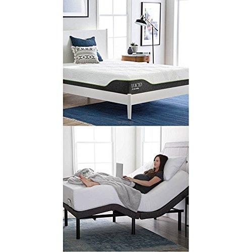 LUCID L300 Adjustable Bed Basewith LUCID 10 InchLatexHybrid (Split Base)