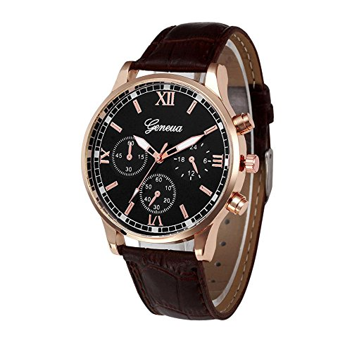 (Bokeley Big Watch Retro Design Leather Band Quartz Sport Wrist Watch Men (Brown))