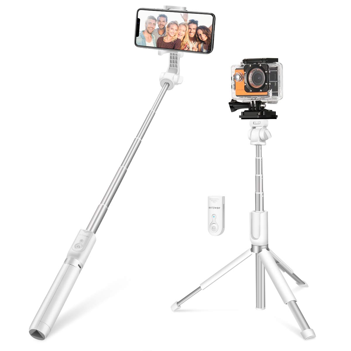 Selfie Stick for Cameras, Gopro, iPhone, Android - BlitzWolf 5 in 1 32 inch Super Long Extendable Bluetooth Selfie Stick Tripod with Removable Remote White (Extended Version) BW-BS5-W