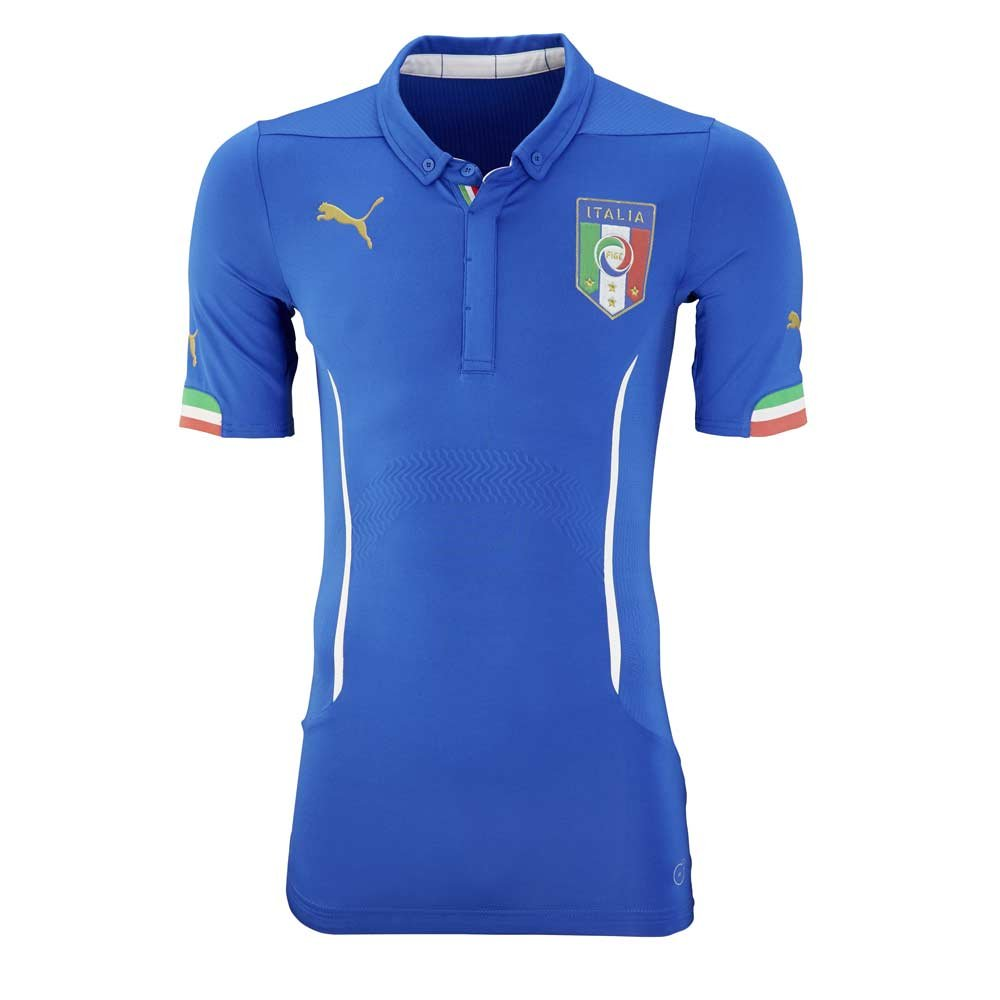 2015 – 2016イタリアAuthentic ActvホームPumaフットボールシャツ B0746CZG9QBlue Large Adults