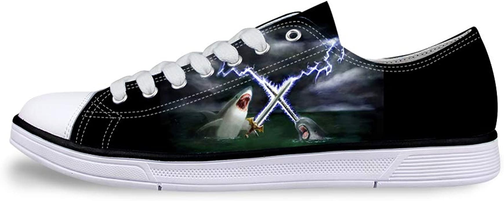 Boys Girls Casual Lace-up Sneakers Running Shoes Shark Lightning Fighting with Narwhal