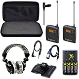 Sennheiser EW 112P / EW112P / EW 112-P G3-A omni-directional EW system Camera-Mount Wireless with Ecko EKU-FRC-GRFBK Unlimited Force Over-the-Ear Headphones with Microphone (Graffiti Black) Combo + Hard Carrying Padded Case + 4 AA Rechargeable Battery Pac