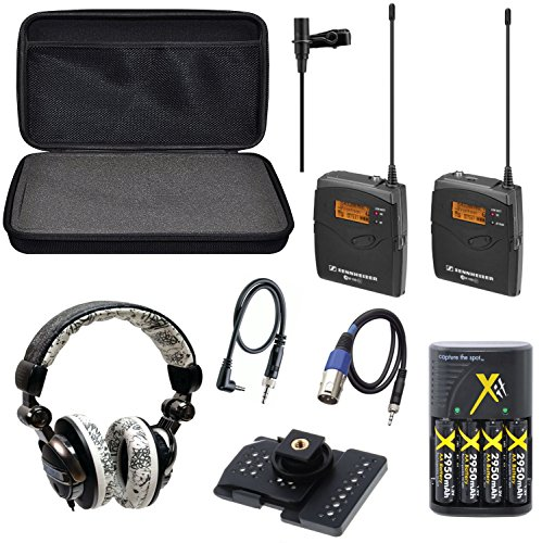 Sennheiser EW 112P / EW112P / EW 112-P G3-A omni-directional EW system Camera-Mount Wireless with Ecko EKU-FRC-GRFBK Unlimited Force Over-the-Ear Headphones with Microphone (Graffiti Black) Combo + Hard Carrying Padded Case + 4 AA Rechargeable Battery Pac by 33rd Street
