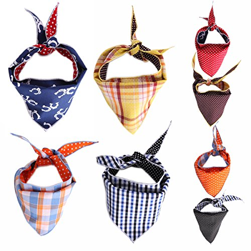 Tail Trends 4 Pack Pet Dog Bandanas Triangle Bib Scarf Assortment of Designs Available – 100% Cotton