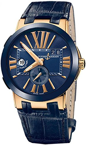 ulysse-nardin-dual-time-mens-blue-leather-strap-rose-gold-automatic-watch-246-00-5-43