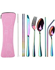 Travel Utensils with Case, OHFUN Healthy & Eco-Friendly 9 Pieces Travel Silverware Portable Flatware Sets for Traveling Camping Picnic Working or Lunch Box, Dishwasher Safe