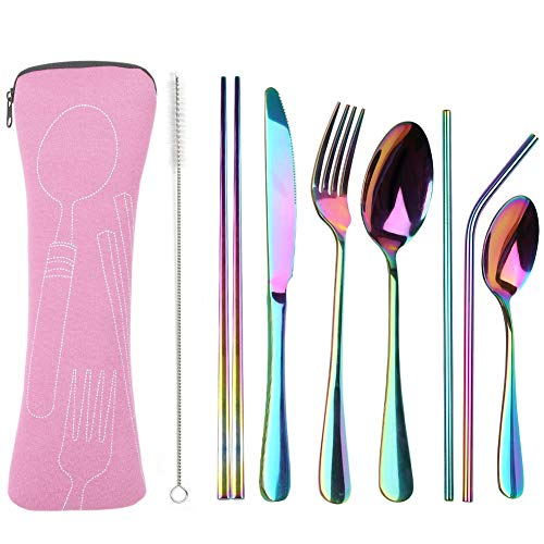 Reusable Travel utensils cutlery set with Case, OHFUN Stainless Steel Portable Flatware Set Silverware Set for Camping Picnic Office or School Lunch,Dishwasher Safe (Pink)
