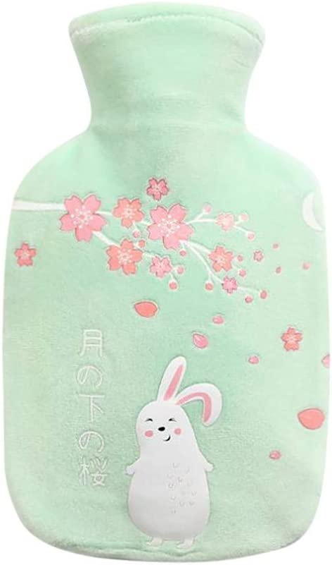 Hot Water Bottle,Portable Silicone Hot Water Bag,Hot & Cold Therapy,Great for Menstrual Pain Relief for Women,Arthritis, Headaches,Kids and Gifts,Cartoon Flower Rabbit Print