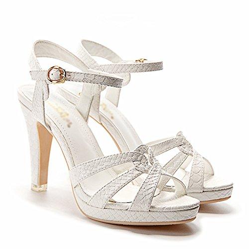 Mujer Color Blanco High Heels Blanco Ms 34 Verano Thin para Zapatos Zapatos Tamaño mujer HWF Sandalias de para Femeninos Z6UFz