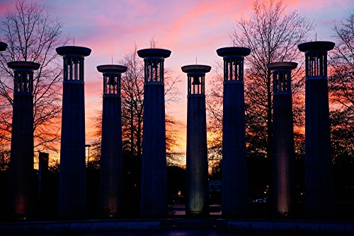 Colonnade in a park at sunset, 95 Bell Carillons, Bicentennial Mall State Park, Nashville, Davidson County, Tennessee Poster Print by Panoramic Images (36 x - Nashville Tennessee Mall