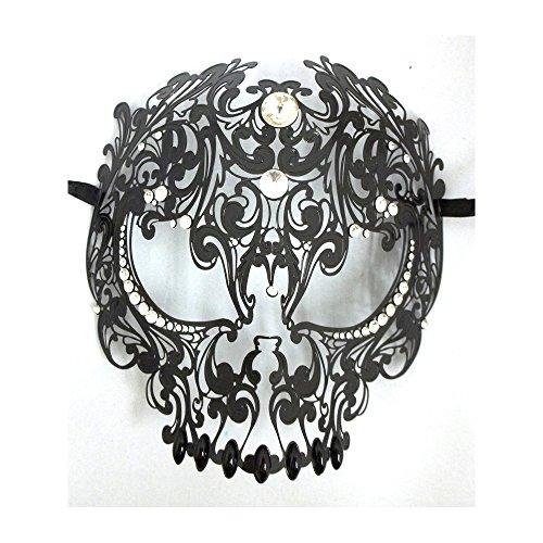 Yacanna Men Devil Skull Laser Cut Venetian Masquerade Mask Event Party Ball Mardi Gars (Black, Clear Crystals) -