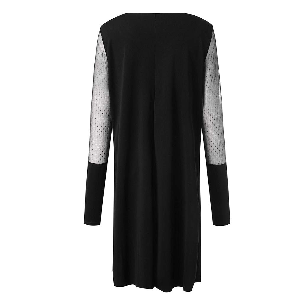 Plus Size Women Long Sleeve Baggy Midi Dress Ladies Party V Neck Lace Tunic Dress Top 2XL-6XL (Black, XXXXXL) by Unknown (Image #7)