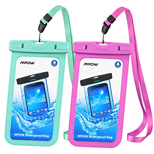 Mpow Universal Waterproof Case, IPX8 Waterproof Phone Pouch Dry Bag Compatible for iPhone X/8/8plus/7/7plus/6s/6/6s Plus Galaxy s8/s7 Google Pixel HTC10 (Blue+Pink 2-Pack)
