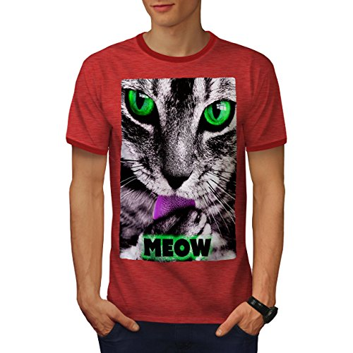 (wellcoda Meow Kitty Paw Cute Cat Mens Ringer T-Shirt, Cat Graphic Print TeeHeather Red/Red 2XL)