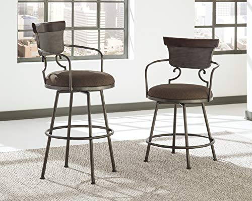 Ashley Furniture Signature Design - Moriann Swivel Barstool - Pub Height - Vintage Casual - Two-tone