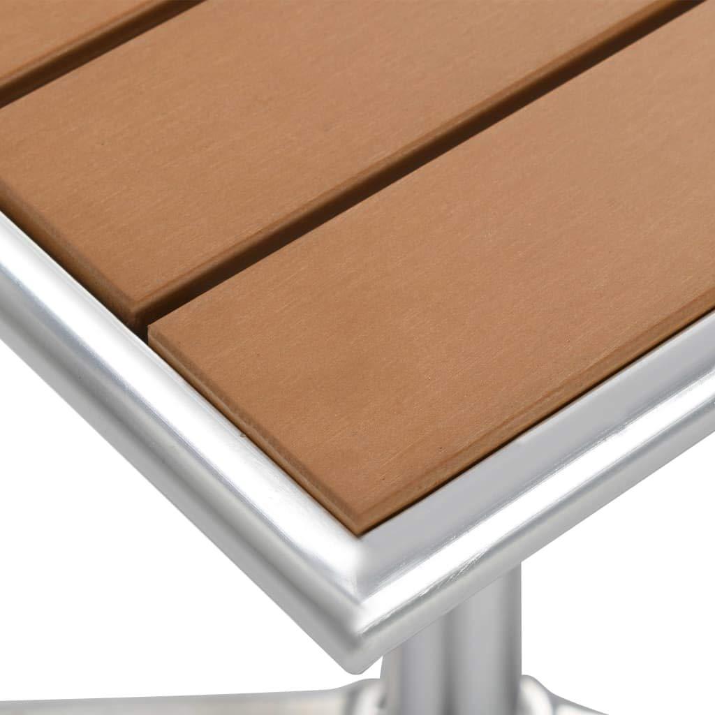 vidaXL Gartentisch Balkontisch Terrassentisch Bistrotisch Tisch Gartenm/öbel Esstisch Bartisch Beistelltisch Silbern 60x60x70 cm Aluminium Alu WPC
