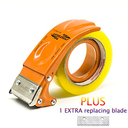 PROSUN Metal Handheld 3 Inch Tape Gun Dispenser Packing Packaging Sealing Cutter Yellow 3' Heavy Duty Tape Dispenser