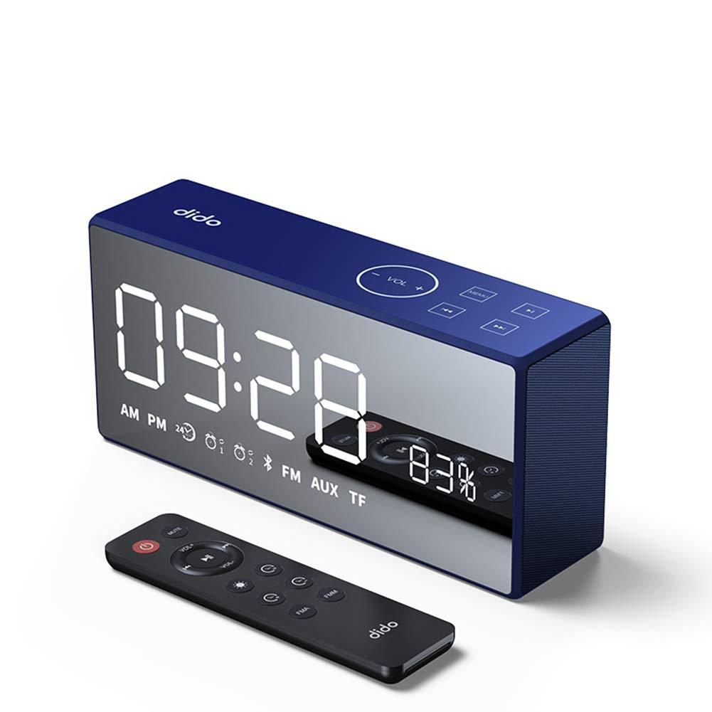 目覚まし時計ラジオ、ベースHi-FiワイヤレスBluetoothスピーカーAUX TFカード再生スマートタッチとリモートコントロール25時間再生時間,Black B07LG8BJ6C Blue  Blue