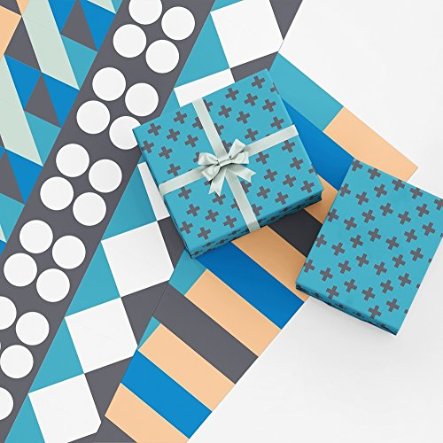 Blue Geometric Gift Wrap Collection, 9 Rolled Sheets of Wrapping Paper with Geometric Patterns in Blue, Orange, Black and White, Made in America by Revel & Co ()