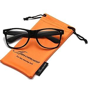 Amomoma Unisex Wayfarer Non-prescription Glasses Frame Clear Lens Eyeglasses AM5015 With Black Frame/Black Temple