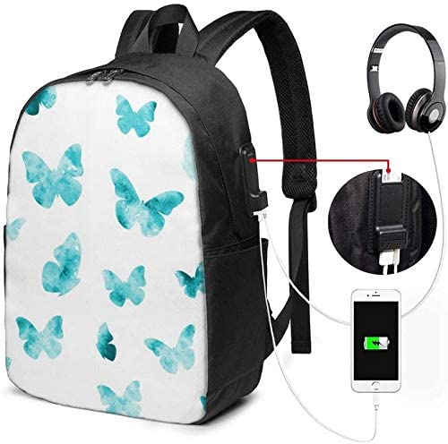 Watercolor Butterfly Laptop Backpack 17 Inch Business Travel Backpacks College Backpacks with USB Charging Port