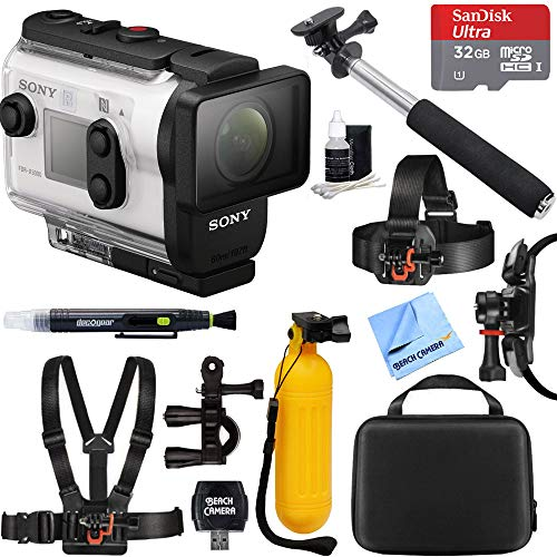 Sony FDR-X3000R 4K Wi-Fi GPS Action Camera with SteadyShot and Live View Remote Kit + 32GB Outdoor Adventure Mounting Bundle