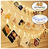 KAZOKU Photo Clips String Lights, [Upgraded] Indoor and Outdoor String Lights with 40 LED Warm White Photo Clips for Dorms Bedroom Decoration(Free Gift -5 PCS Wall Hooks)