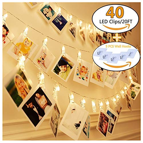 KAZOKU Photo Clips String Lights, [Upgraded] Indoor and Outdoor String Lights with 40 LED Warm White Photo Clips for Dorms Bedroom Decoration(Free Gift -5 PCS Wall Hooks) by KAZOKU