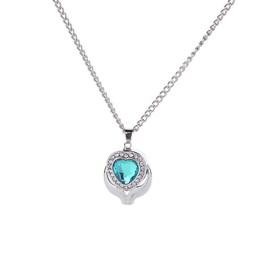 FRCOLT Women Remains Commemorate Blue Gem Heart Type Heart Shaped Pendant Necklace (Sky Blue, alloy-Crystal)